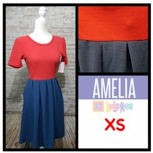 NWT LuLaRoe Red & Blue Amelia Dress